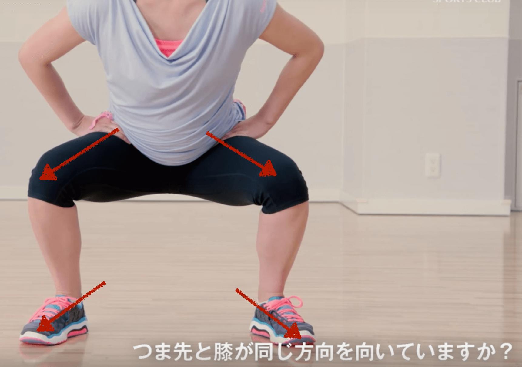 スクワットの正しい態勢(つま先と膝の向き)